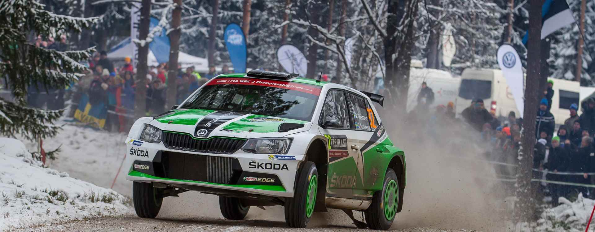 ŠKODA celebrates podium positions at the Rally Sweden