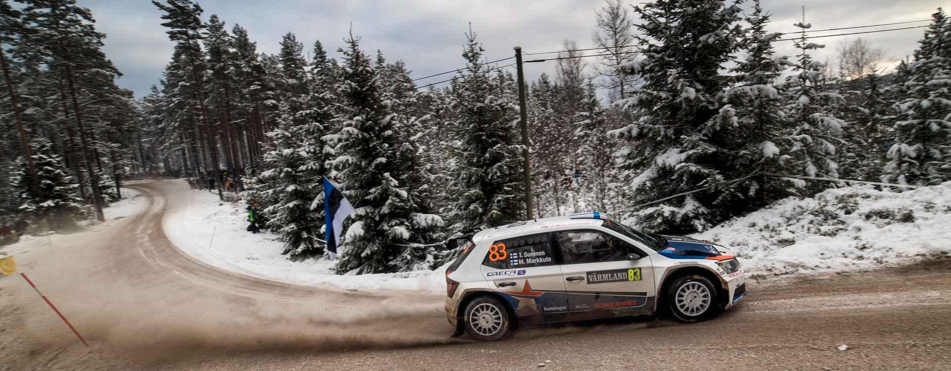 Rally Sweden: ŠKODA Fabia R5 cars shine in the snow