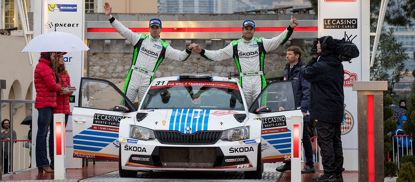 VIDEO: 1-2 victory for ŠKODA Motorsport at the Rallye Monte Carlo