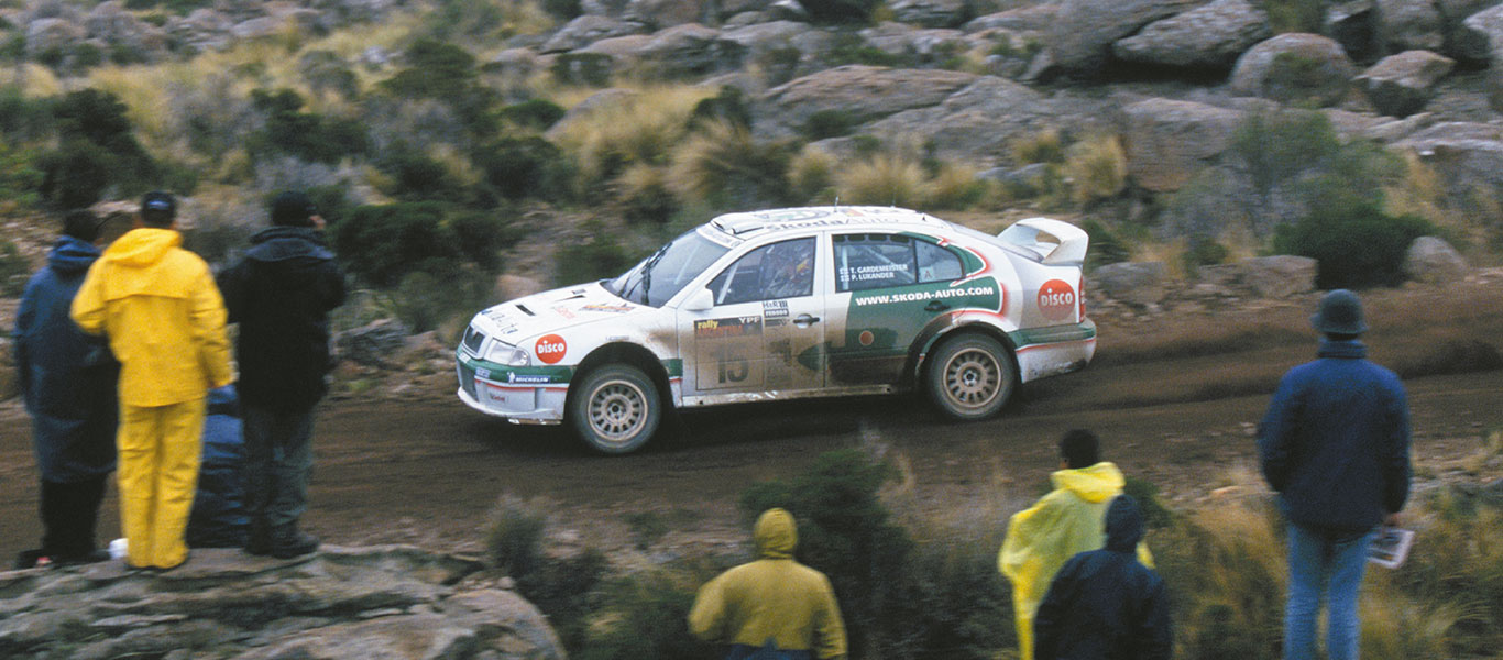 From the Archives: Two ŠKODA OCTAVIA WRCs in top 6 at the 2002 Rally Argentina