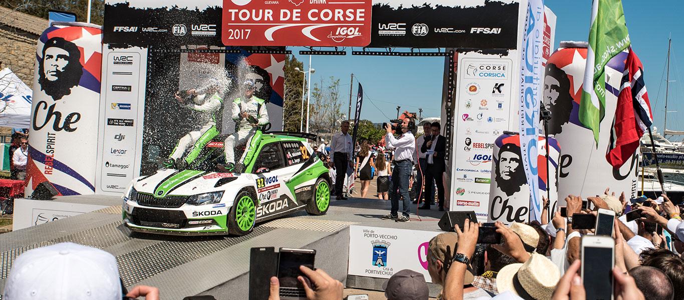 WRC Tour de Corse: ŠKODA claims top two spots in the WRC 2 table