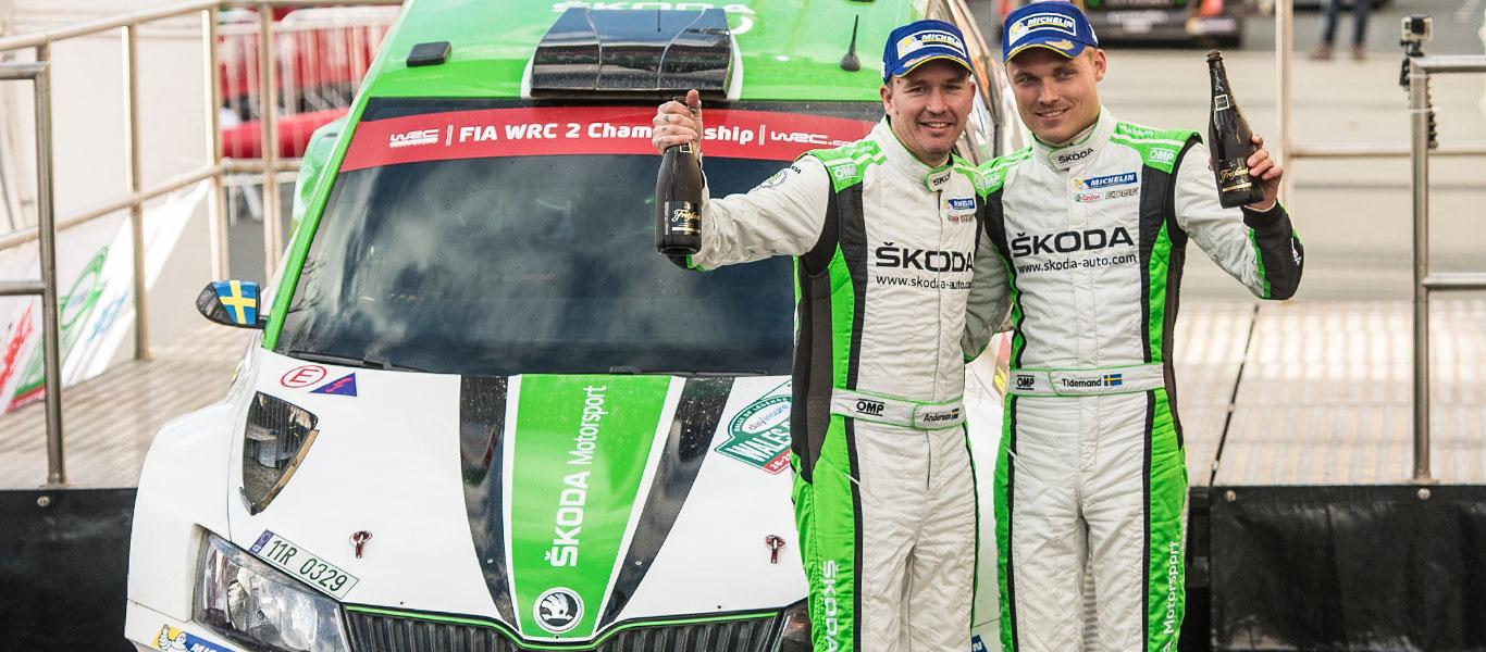 WRC Wales: ŠKODA's Pontus Tidemand wins WRC2 – Category victory number 10 for ŠKODA