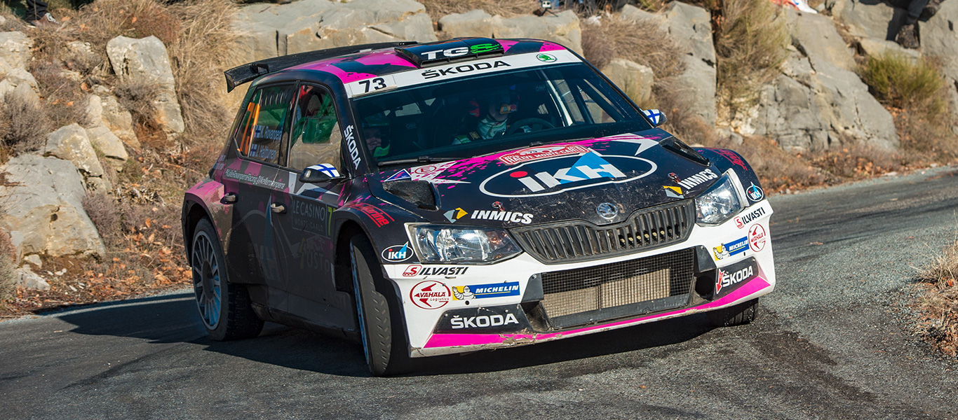 ŠKODA FABIA R5 drivers sweep the RC2 class podium at the Rallye Monte Carlo