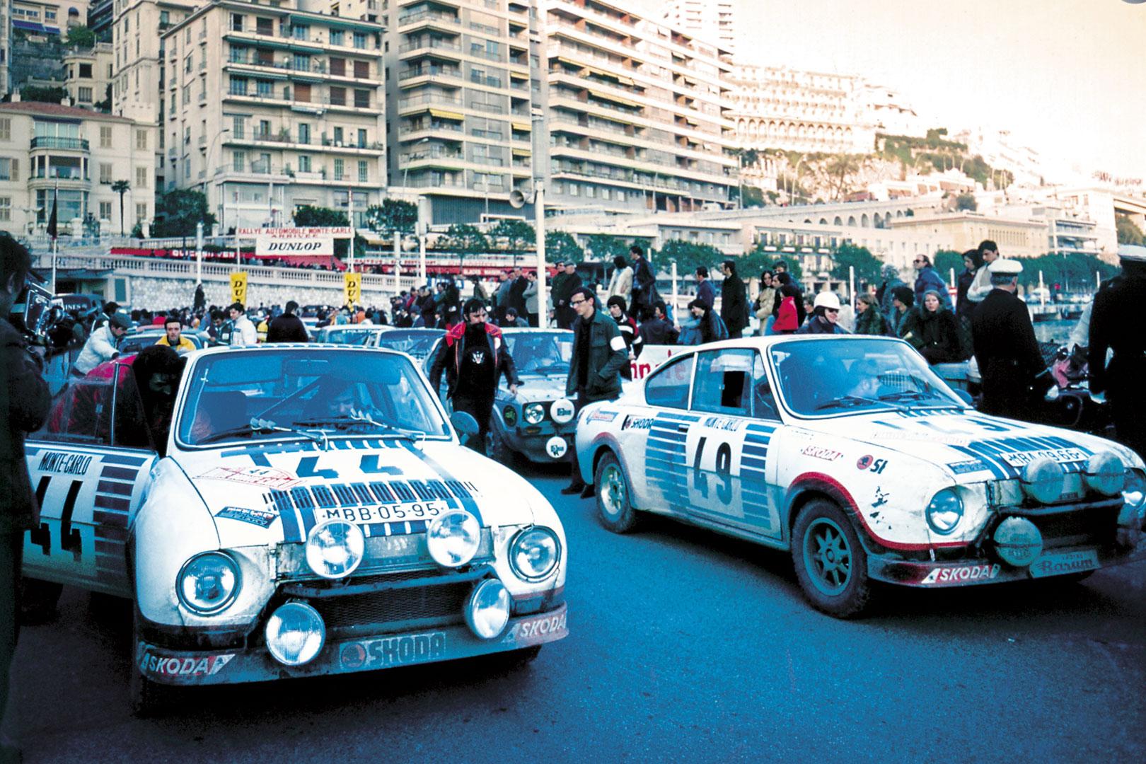 Václav Blahna / Lubislav Hlávka, Miloslav Zapadlo / Jiří Motal, ŠKODA 130 RS. Rallye Monte Carlo 1977