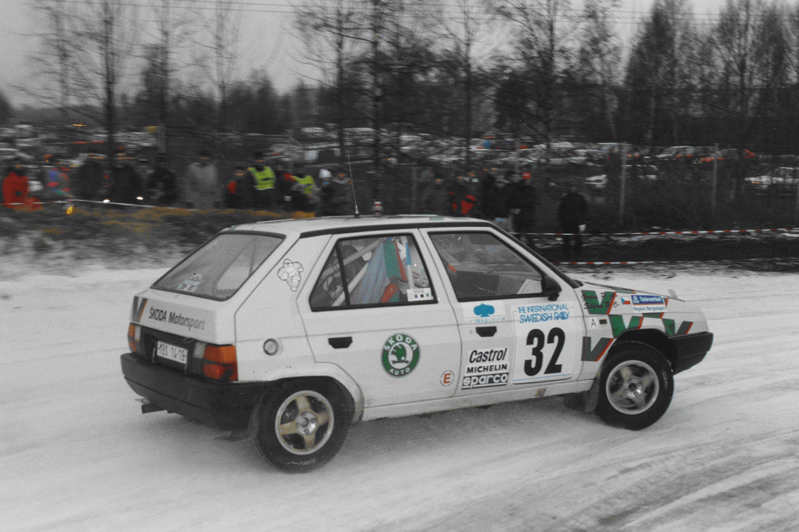Pavel Sibera / Petr Gross, ŠKODA FAVORIT 136 L, ŠKODA Motorsport. Rally Sweden 1993